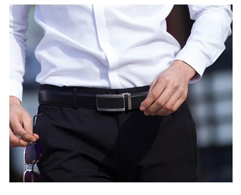 حزام COWATHER  جلد طبيعي للرجال ذو جودة عالية 20