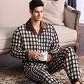 Nueva manga completa otoño invierno de los hombres gruesos conjuntos de pijamas homewear pijamas ropa de dormir caliente masculina a cuadros informal ropa de dormir de algodón térmico