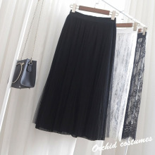 Spring and Summer Metallic Gauze  Heavy Mesh Skirt 2019 New In The Long Pleated Personality Fashion