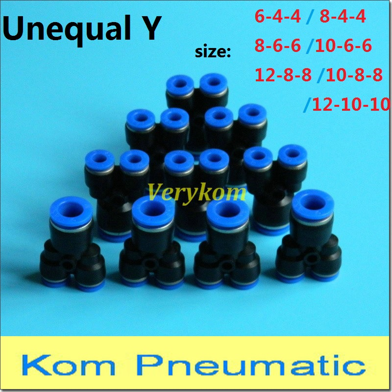 10pcs Tube OD 10mm to 8mm Pneumatic Reduced Tee Union Push In Air Fittings