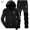 Tracksuit Men Sportswear 2016 Print Men's Winter Tracksuit Set Solid Sweatshirt Suit Men Hoodies Sets Coat+Pants Outwear Coats