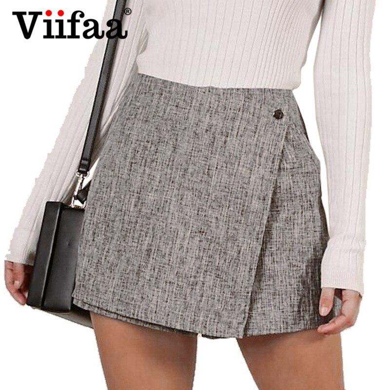 e5d76ecc Viifaa Grey Casual cintura alta Shorts pantalones cortos de Zip de vuelta a  corto pantalones cortos faldas 2019 mujeres pantalones cortos de verano