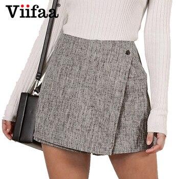 d9112ffda4 Viifaa Grey Casual cintura alta Shorts pantalones cortos de Zip de vuelta a  corto pantalones cortos faldas 2019 mujeres pantalones cortos de verano