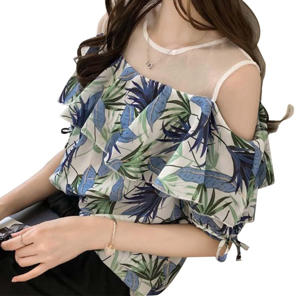 2019 New Yfashion Women Summer Simple Fashion Printing Mesh Splice Ruffled Off Shoulder Shirt