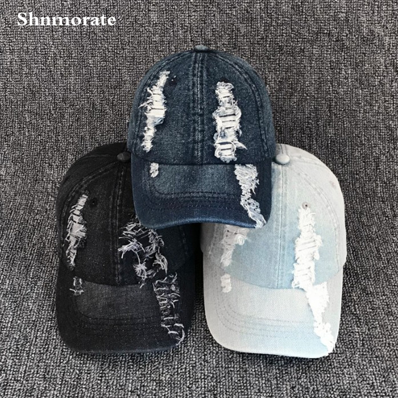Ripped Jeans Adjustable Cap Men
