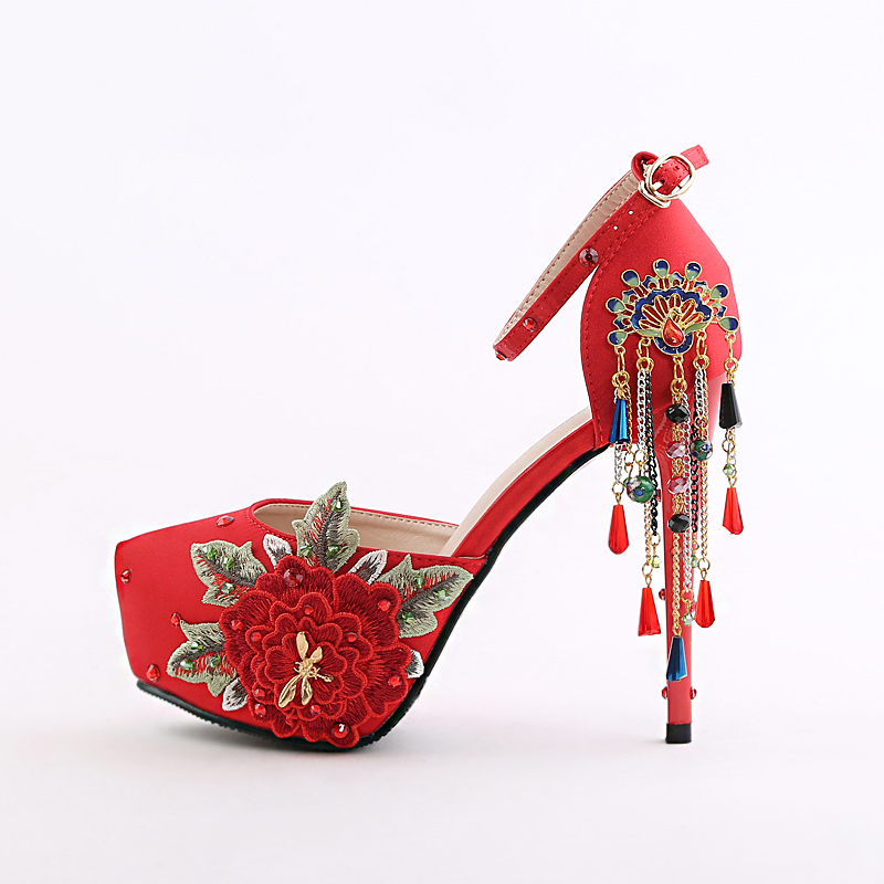 peony flowers bride  China fringed with red high-heeled ultra fine national wind hollow female wedding women shoes wedding pumps 2017 fashion flowers diamond pendant bride shoes high with fine with photography single shoes for women s shoes wedding shoes