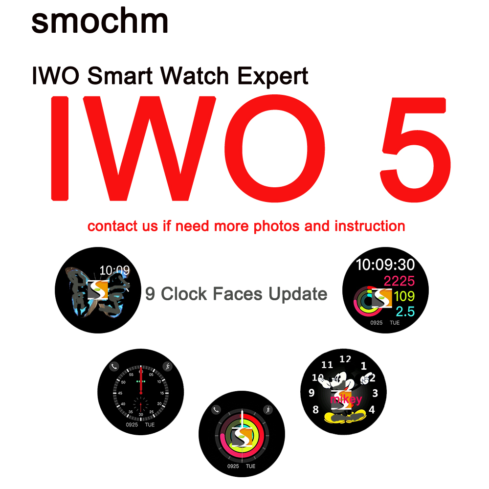 Smochm IWO 5 Wireless Charger Bluetooth Smart Watch 9 Clock Faces Pedometer Sleeping Monitor for IOS Iphone Andriod Smart Phone celiadwn bluetooth smart watch iwo 4 smartwatch 42mm smaller iwo 1 version case for ios android phone vs iwo 3