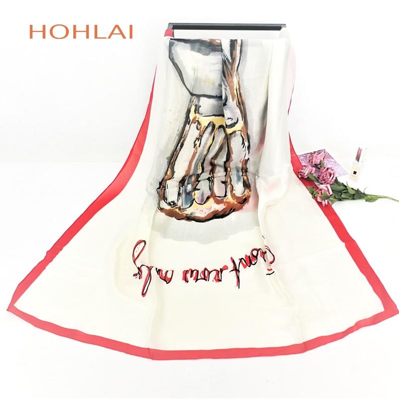 Luxury Brand Women Floral Printed 100% Silk Scarf Shawl Soft Long Female Bandana Cachecol Feminino Hijab Stole Scarves 90*180cm