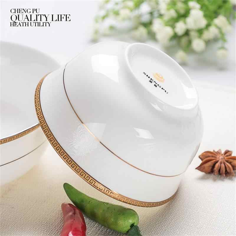 4 5 inch, real fine bone china rice soup bowl, porcelain bowl, golded  banding decor, chinese soup container, microwave safe