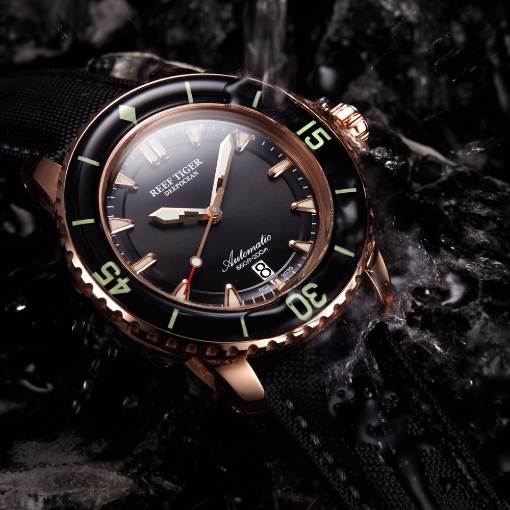Reef Tiger brand Super Bright Automatic Men's Watches reloj hombre Black Steel Strap Swiss Nylon Diving Watch relogio masculino