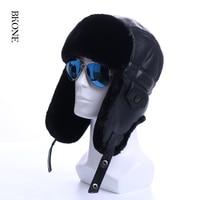 Faux Leather Winter Hat Earflap Men Bomber Hats Patchwork Artificial Fur Russian Ushanka Snow Ski Caps Aviator Trapper