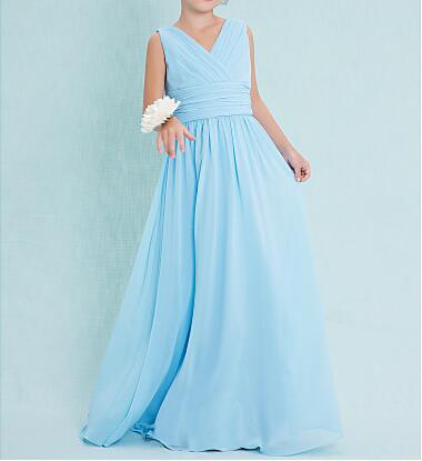 Sheath V-neck Floor Length Chiffon Junior Bridesmaid with Criss Cross Ruching Flower Girls Dresses цены