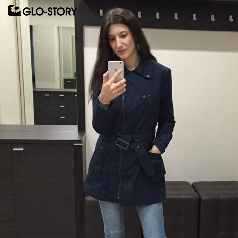 GLO-STORY Womens 2018 Spring Long Windbreaker   Trench   Coat Women Wear To Work Zipper With Belt Cotton Coats WSX-1464