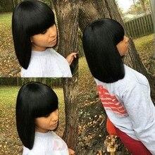Fashion short bob lace front human hair wigs with bangs 100% unprocessed virgin brazilian straight bob wigs for black women