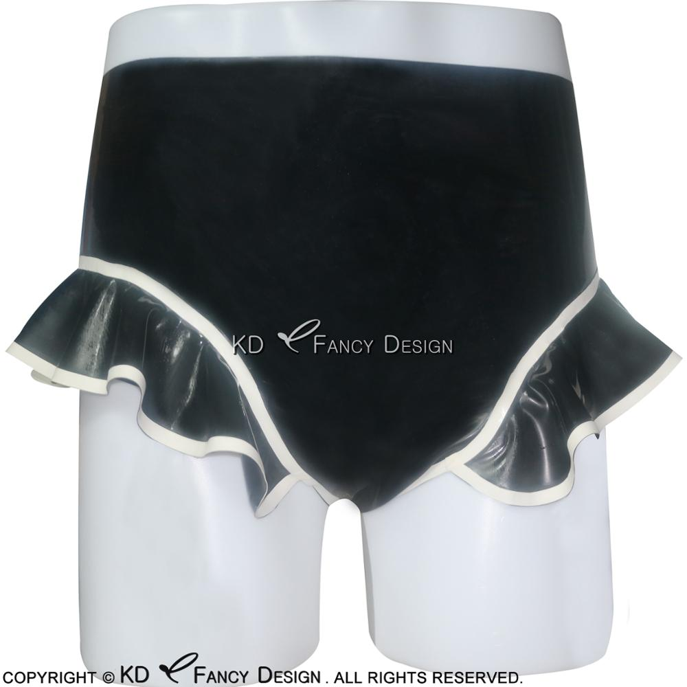 Black With White Trims Sexy Latex Brifes With Ruffes Rubber Underpants Shorts Underwear DK-0039