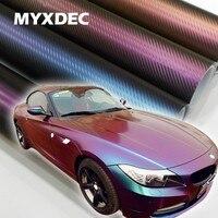 152*30CM 3D Carbon Fiber Vinyl folia do zawijania samochodów motocykl samochód dekoracja naklejki kameleon naklejki motocykl Car Styling na