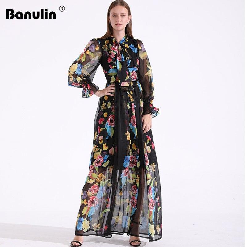 Banulin Runway Designer Maxi Dress Plus size WomenLong Sleeve Bow Collar Vintage Floral Print Chiffon Party Holiday Long Dress