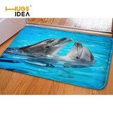 HUGSIDEA Blue Cool Animal Dolphin Print Home Floor Carpet for Living Room Bedroom Non-slip Kitchen Mat Rugs Tapis Alfombra