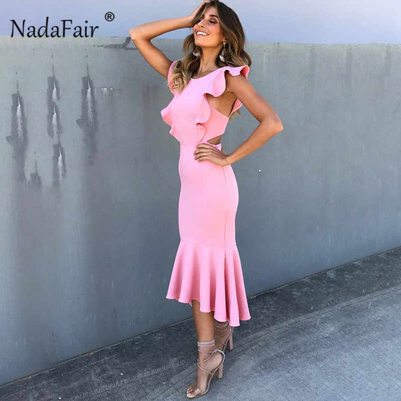 Nadafair Trompet Midi Party Dress Vrouwen Backless Hollow Out Ruches Slanke Sexy Zomer Bodycon Jurk Vestidos Roze Rood Zwart