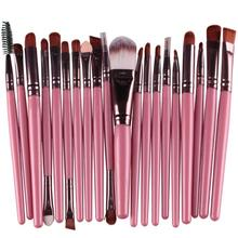 20 pcs makeup brushes set professional Pink high quality cosmetic tools Make-up Toiletry Kit Goat hair cosmetic brushes
