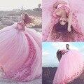2017 Arábia Ahamad Rosa 3D Flora Apliques Quinceanera Vestidos Poofy vestido de Baile Da Princesa Vestidos de Baile Custom Made