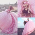 2017 Saudi Ahamad Pink 3D Flora Appliques Quinceanera Dresses Poofy Ball Gown Princess Prom Dresses Custom Made