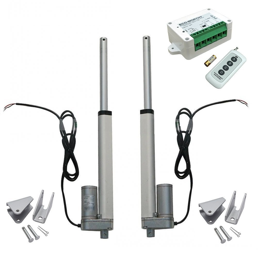 2pcs 8 Inch 8'' Stroke Linear Actuator 330 Pound Max Lift DC 12V Motor + Wireless Remote Controller Kit + Mounting Brackets a kit 2 pcs stroke 300mm 12 linear actuator progressive dc motor 1 pcs electric adapter 1 pcs switch controller at same time