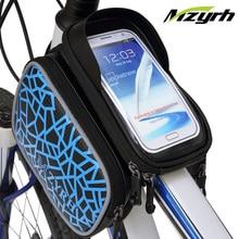 Mzyrh 4.8-5.8″ Touch Screen/ Listen Music/ Waterproof Bicycle Bag Front Frame Bike Bag MTB Mountain Road Bike Storage Saddle Bag