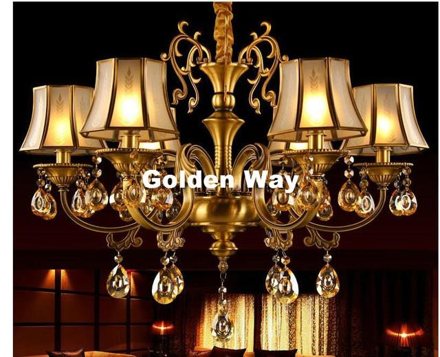 European Modern 6l Design Brass Bronze Finish Crystal Chandelier Lamp E14 Led Ac Light Fixture