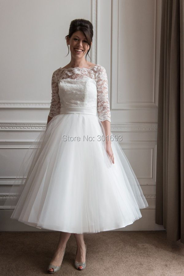 Oumeiya OMW119 Tulle Boat Neck Lace Top 50S or 60S Vintage Tea Length  Wedding Dresses with Sleeves 2015. Ivory Color. OMW119 (4) ... a6bf7e8f8708