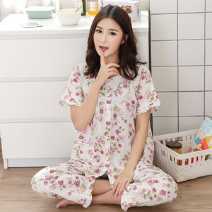 Image 5 - Pajamas Set Women Summer Mom Sexy Flower Cotton Pyjamas 2Piece/Set Long Pants Short Shirt Big Size Pregnant Home Mom Sleepwear