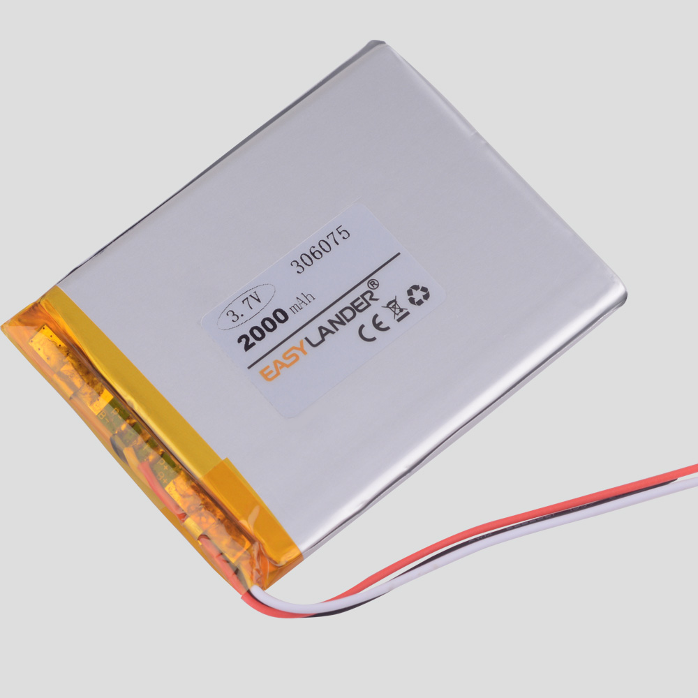 <font><b>3</b></font> line <font><b>3</b></font>.7V <font><b>2000mAh</b></font> Universal Li-ion battery for tablet pc <font><b>7</b></font> inch 8 inch 9 inc GPS Vedio Game E-Book Tablet PC Power Bank 306075 image