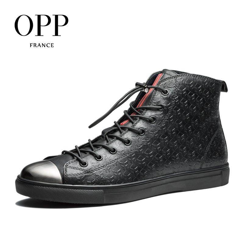 OPP Fretwork Men Shoes Men boots 2017 Genuine Leather Metal Toe Shoes Ankle Boots for men Winter Boots men High Top