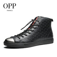 OPP Fretwork Men Shoes Men Boots 2017 Genuine Leather Metal Toe Shoes Ankle Boots For Men