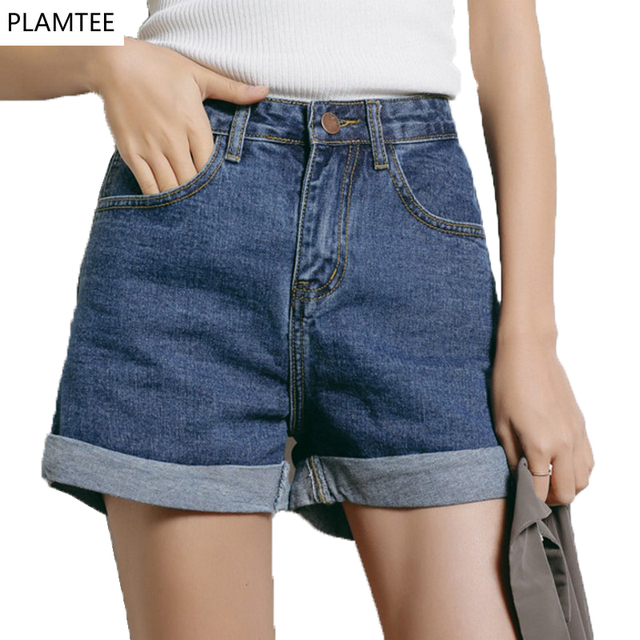 6180da6234 Loose High Waist Shots Jeans Wide Leg Curled Female Denim Shorts Spring  Summer Pure Leisure Pantalones Cortos Mujer 2017 Short