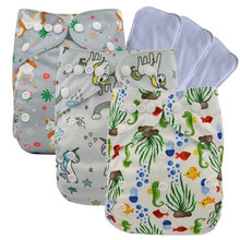 Washable Baby Cloth Diaper Cover Waterproof Cartoon Diapers Pocket Reusable One Size Fit All