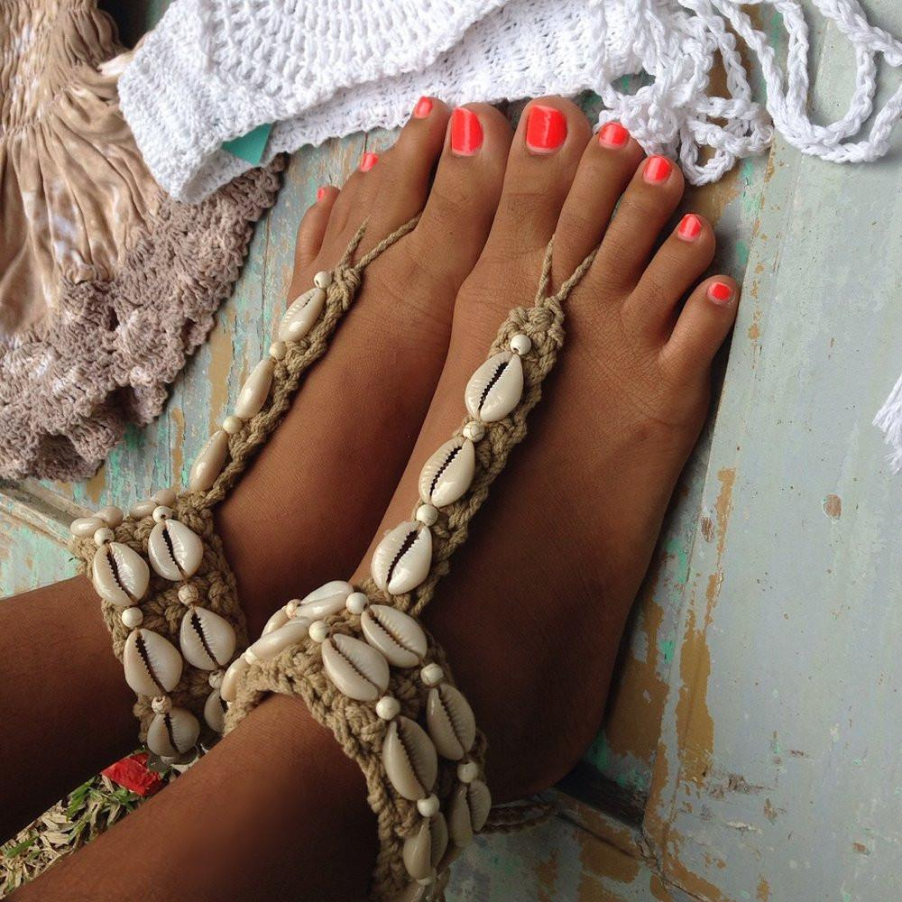 2 Pcs Handmade Women Crochet Barefoot Sandals with Shells and Beads Summer Beach Wedding ...