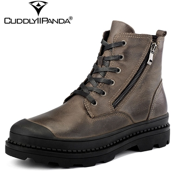 CuddlyIIPanda 2019 Autumn Winter Genuine Leather Motorcycle Boots Plus Size 38-47 Men Fashion Boots Side Zip Vintage Ankle Boots