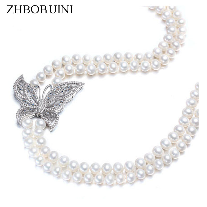 High Quality Fashion Long Pearl Necklace Natural Freshwater Pearl Butterfly sterling silver