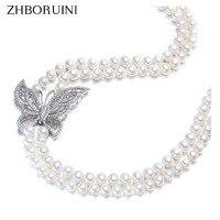 Zhboruini модные длинные жемчужные Цепочки и ожерелья естественный пресноводный жемчуг Бабочка 925 стерлингового серебра Для женщин заявление Ц