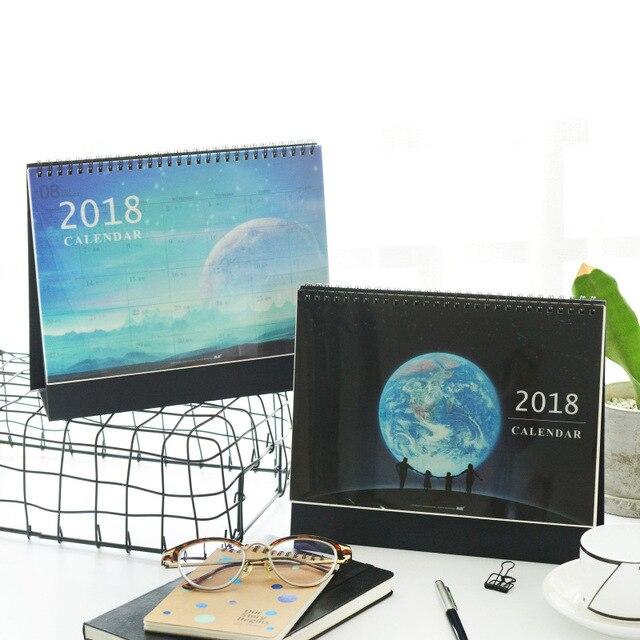 Korea Calendar Blue Sky Moon Office Planner Desk Table Calendar For