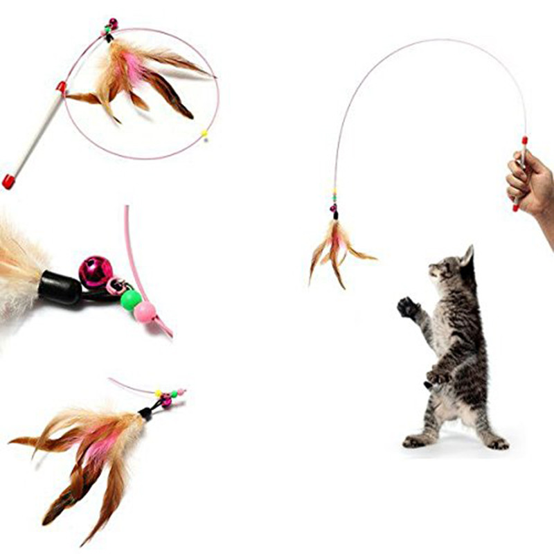 Dropping shipping Dog Cat Pet Accessories Cat toys Pet cat toy Plastic,Steel Wire,Feather Teaser Wand,Toy for cats interactive Кошка