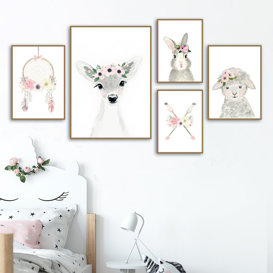 Deer Rabbit Sheep Dream Catcher Flower Wall Art Canvas Painting Nordic Posters And Prints Cartoon Wall Pictures Kids Room Decor