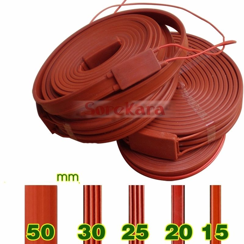 220V AC 25x10000mm 1000W Waterproof Flexible Silicone Rubber Heater Heating Belt Unfreezer for Pipeline Electrical Wires 15mmx3m 240w 220v high quality flexible silicone heating belt heat tracing belt silicone rubber pipe heater waterproof electric