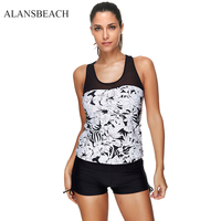 ALANSBEACH Two Pieces Push Up Swimsuit Sexy Swimwear Women Summer Beach Wear Print Bathing Suit High