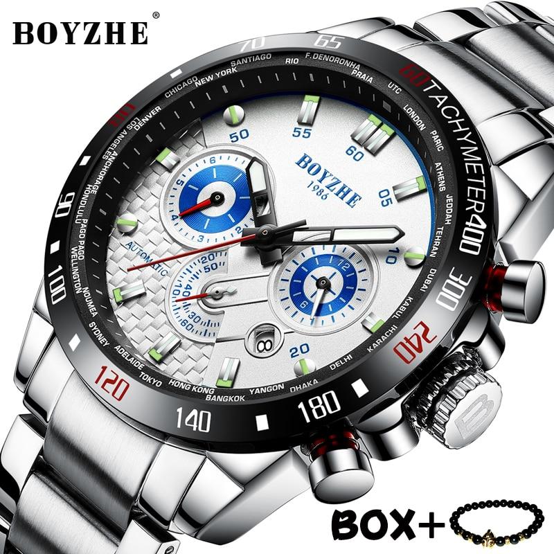 Hommes montre BOYZHE luxe mécanique montres sport horloge 3D cadran multifonction en acier inoxydable montres étanche montre-bracelet homme