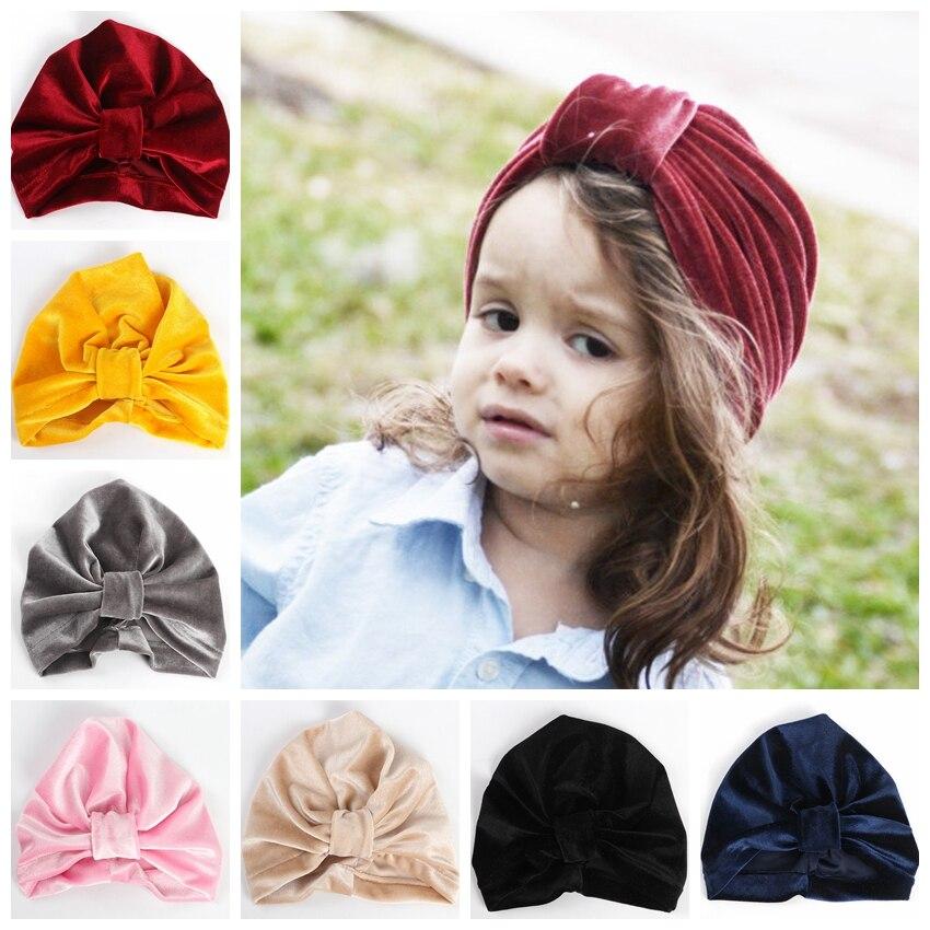 c17635c6e US $2.39 |New Velvet Turban Hat Kids Cotton Blend Newborn Beanie Stylish  Top Knot Caps Headwear Birthday Gift Photo Props-in Hair Accessories from  ...