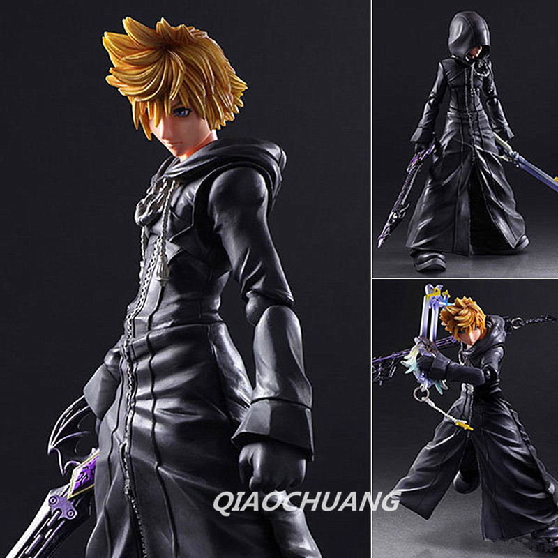 Anime Play Arts KAI Kingdom Hearts Roxas PVC Action Figure Collectible Model Toy RETAIL BOX W136 kingdom hearts play arts kai roxas sora pvc action figure toy 26cm movie game anime kingdom hearts ii playarts kai