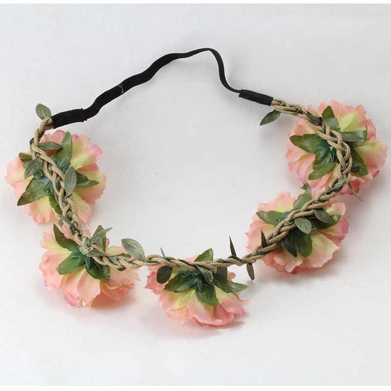 M Mism Perempuan Kain Ikat Kepala Bunga Mahkota Sweet Aksesoris Rambut Wanita Pernikahan Festival Putri Opaska Liburan Wianek Kwiatowy