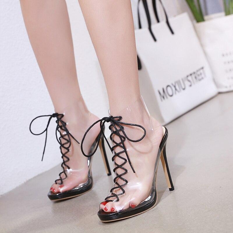 Kmeioo mode nouvelle marque chaussures femme Transparent pompes bout ouvert Slingback talons hauts chaussures à lacets propres pour robe Jeans